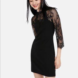 NWT Express Black 3/4 Sleeve Lace Sheath Dress